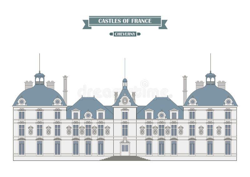 Castelo de Cheverny, França ilustração do vetor
