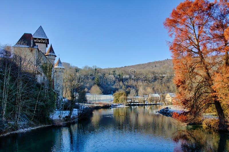 Castelo de Cleron no inverno foto de stock