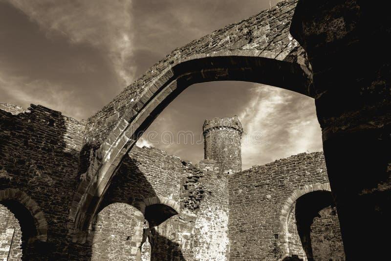 Castelo de Conwy - vista do interior foto de stock