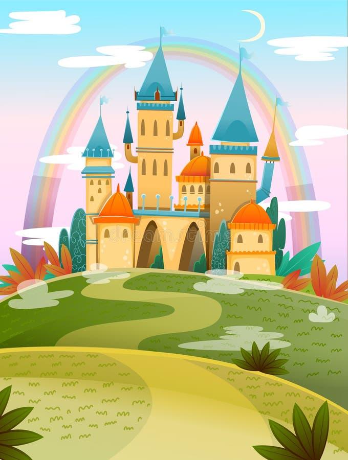 Castelo de desenho animado Castelo de desenho animado FairyTale Palácio de conto de fadas de fantasia com arco-íris Ilustração ve ilustração stock