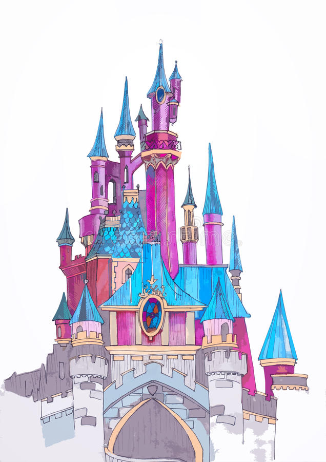 Castelo de Disneylândia do esboço imagem de stock
