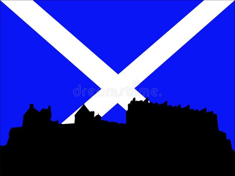 Castelo de Edimburgo e bandeira escocesa ilustração do vetor