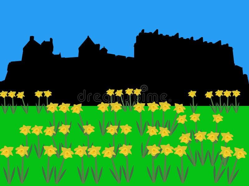 Castelo de Edimburgo na primavera ilustração royalty free