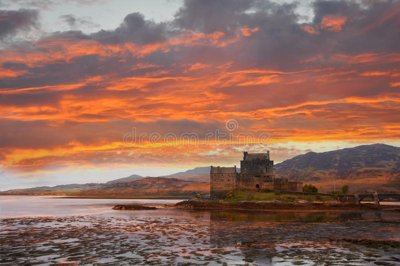 Castelo de Eilean Donan, Scotland fotografia de stock
