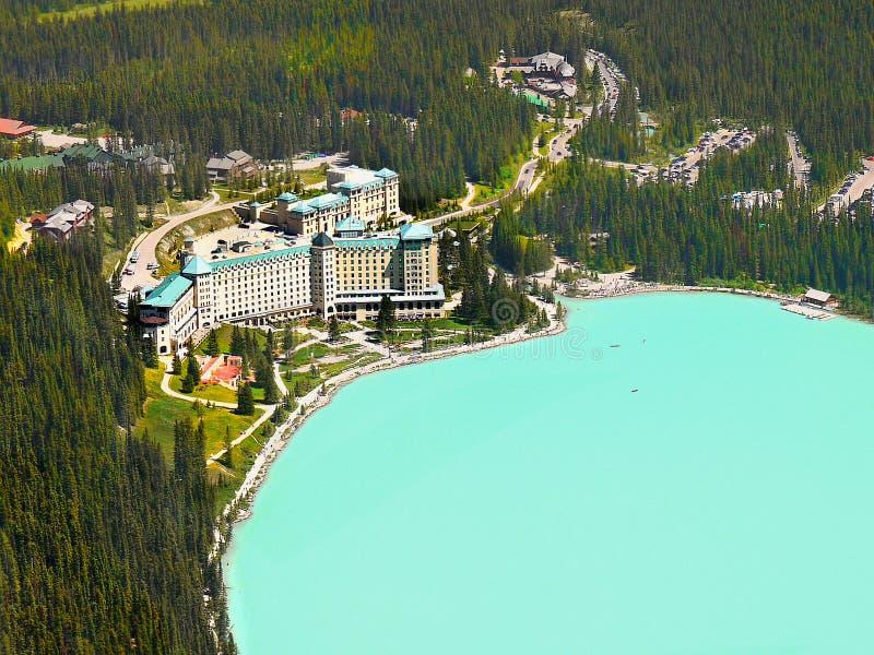 Castelo de Fairmont, Lake Louise, Alberta, Canadá fotos de stock