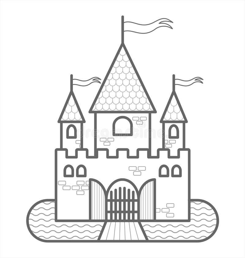 Castelo De Fairytale Com Três Torres, Com Bandeiras, Gates, Moat, Drawbridge Imagem de vetor de estrutura de tópicos Para Livro d ilustração do vetor