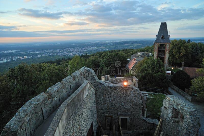 Castelo de Frankenstein na noite fotos de stock