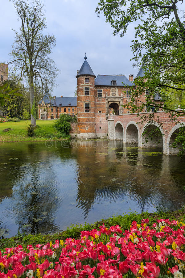 Castelo de Groot Bijgaarden em Bruxelas Bélgica fotografia de stock