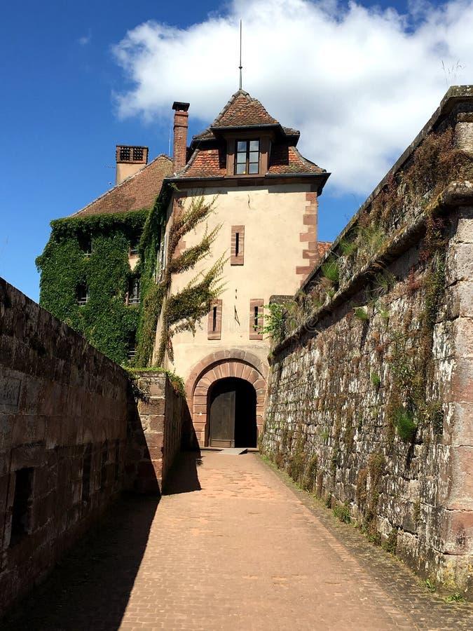Castelo de La Pequeno-Pierre Castelo do La pequeno Pierre em umas horas de verão agradáveis, ao redor com o parque regional de Vo imagem de stock royalty free