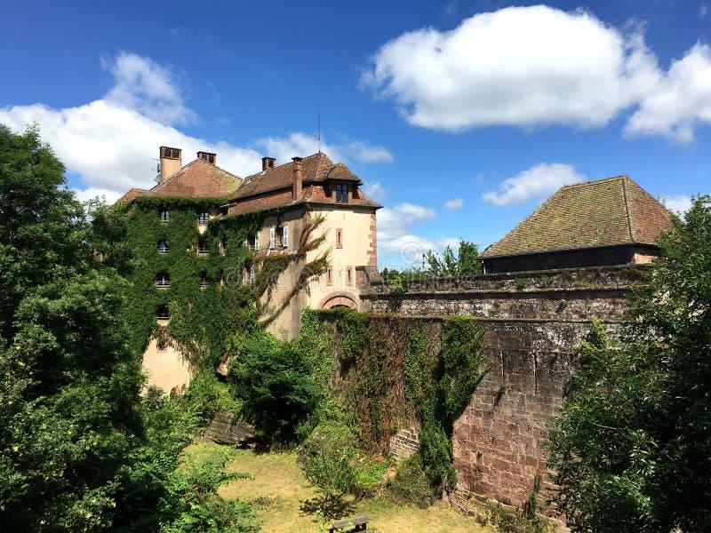 Castelo de La Pequeno-Pierre Castelo do La pequeno Pierre em umas horas de verão agradáveis, ao redor com o parque regional de Vo fotografia de stock royalty free