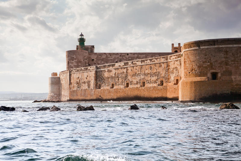 Castelo de Maniace em Sicília, Siracusa, Italy imagem de stock royalty free