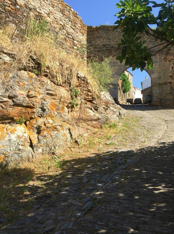 Castelo DE Monsaraz - middeleeuws dorp Monsaraz Portugal stock foto