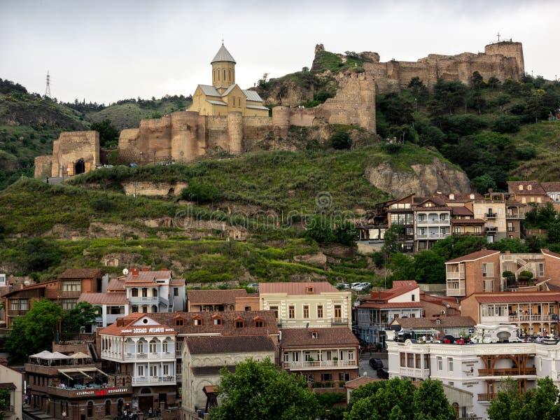 Castelo de Narikala em Tbilisi velho fotos de stock