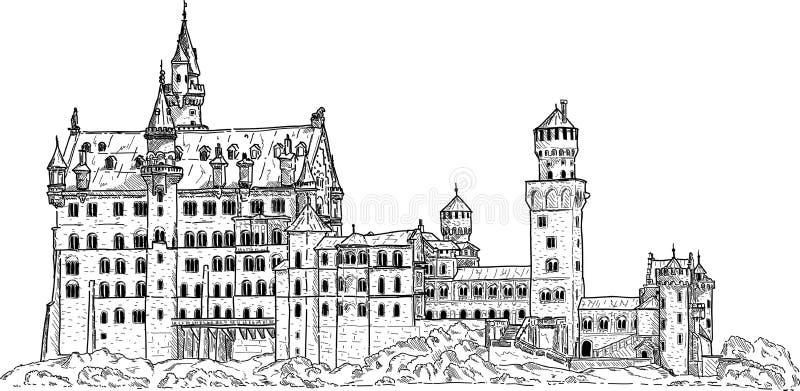Castelo de Neuschwanstein ilustração do vetor