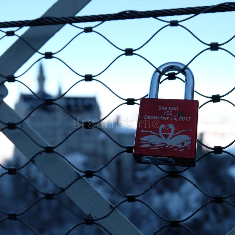 castelo de Neuschwanstein do Amor-medalh?o durante o inverno foto de stock royalty free