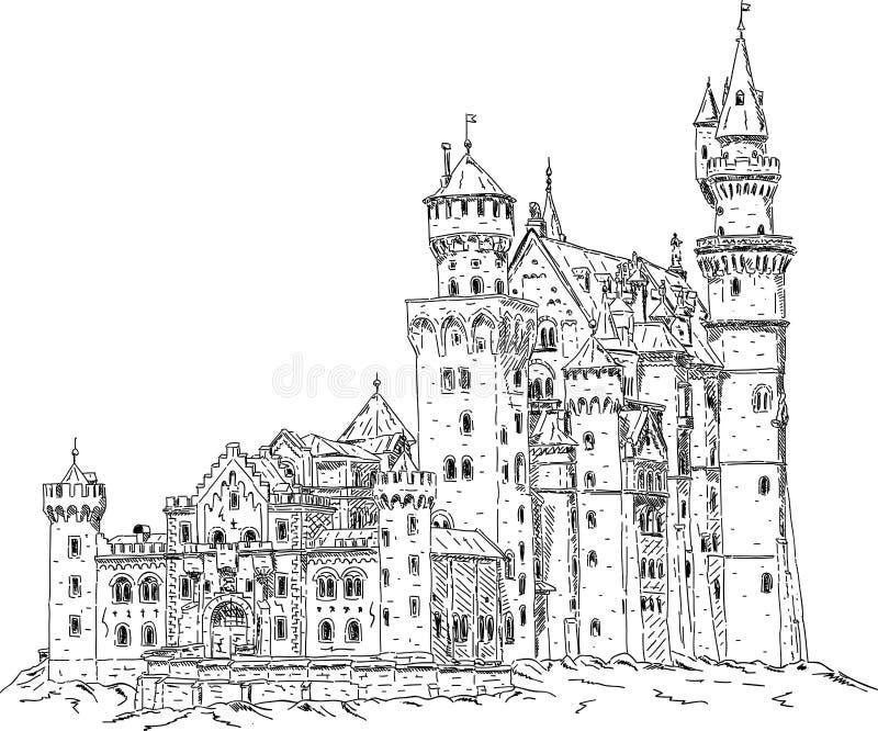 Castelo de Neuschwanstein em Alemanha ilustração royalty free