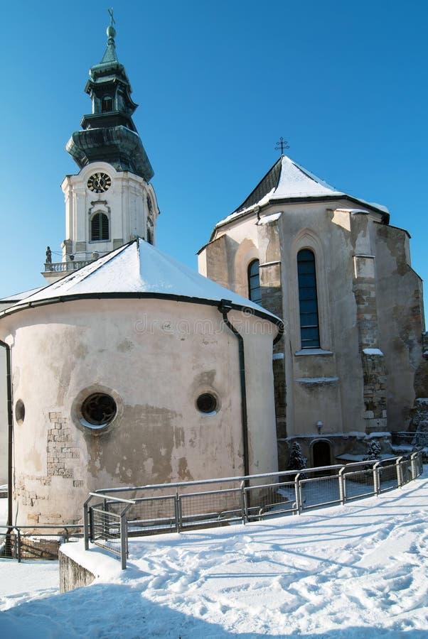 Castelo de Nitra no inverno fotos de stock royalty free