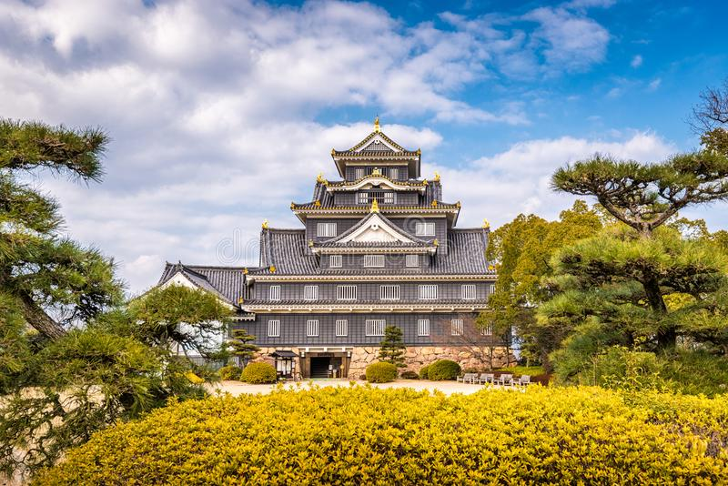 Castelo de Okayama, Japão fotos de stock royalty free