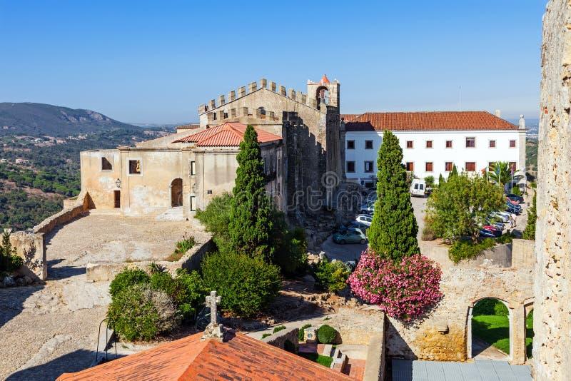 Castelo de Palmela Castle avec l'hôtel historique de Pousadas De Portugal images libres de droits