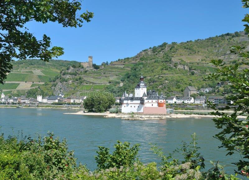 Castelo de Pfalzgrafenstein, Kaub, Rhine River, Alemanha imagens de stock