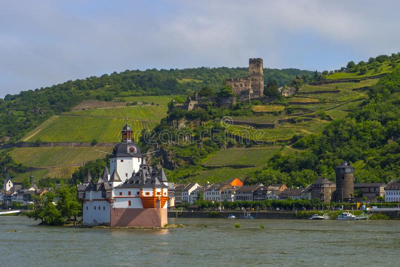 Castelo de Pfalzgrafenstein perto de Kaub no meio de Rhine River, fotos de stock royalty free