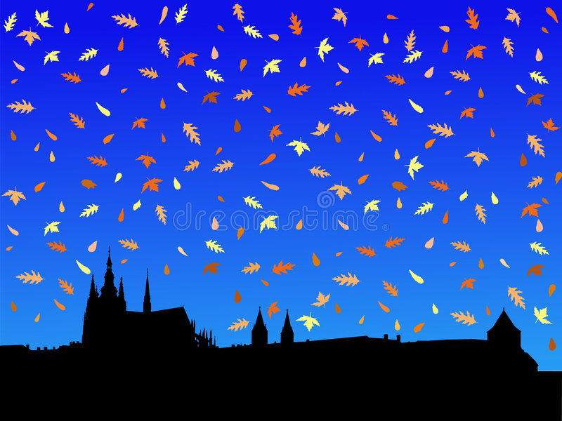 Castelo de Praga no outono ilustração stock