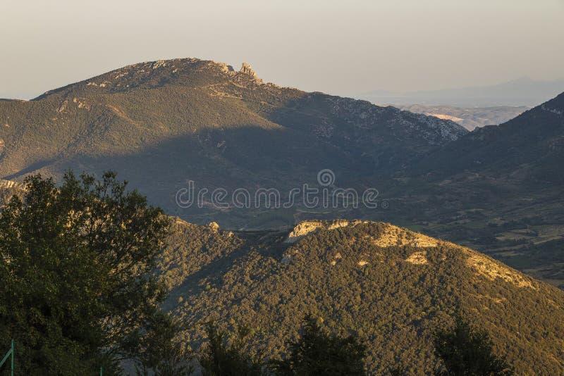Castelo de Qeribus, montanhas de Corbieres, França imagens de stock royalty free