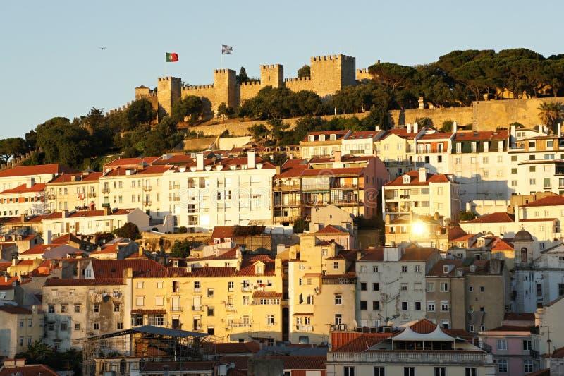 Castelo de Sao豪尔赫在里斯本,葡萄牙 库存图片