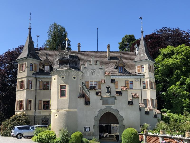Castelo de Seeburg ou Schloss Seeburg em Kreuzlingen, Su??a foto de stock