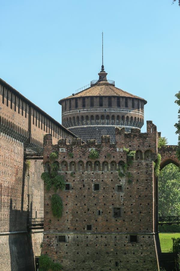 Castelo de Sforzesco, Milão fotos de stock