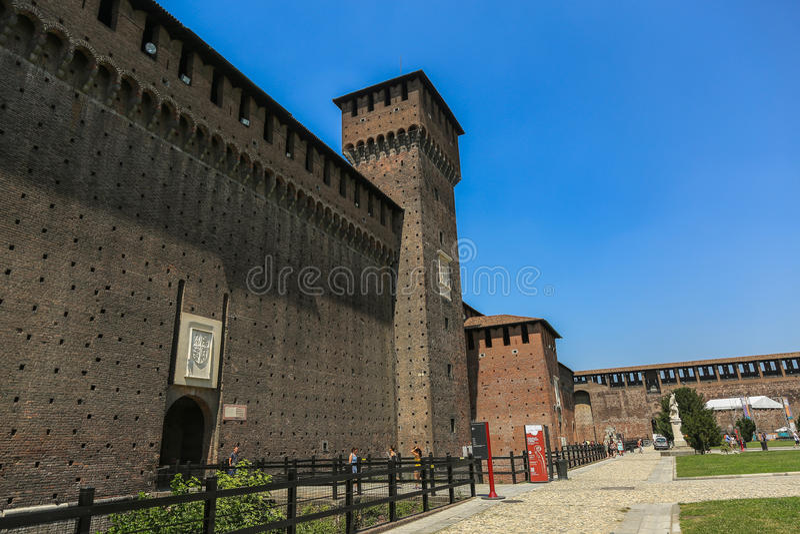 Castelo de Sforzesco, Milão imagens de stock