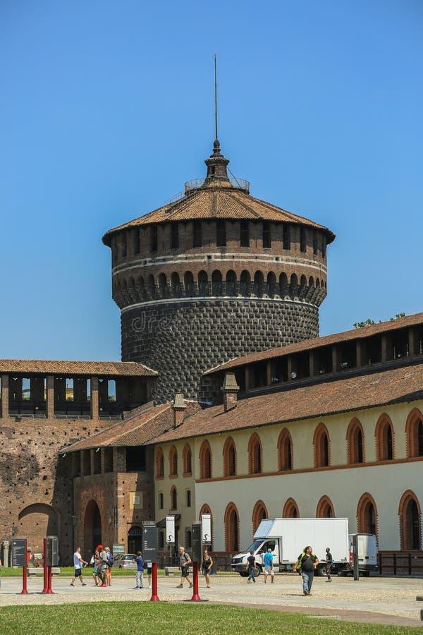 Castelo de Sforzesco, Milão fotografia de stock