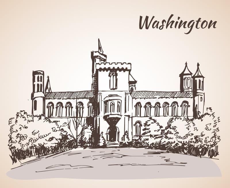 Castelo de Smithsonian - Washington, EUA ilustração royalty free