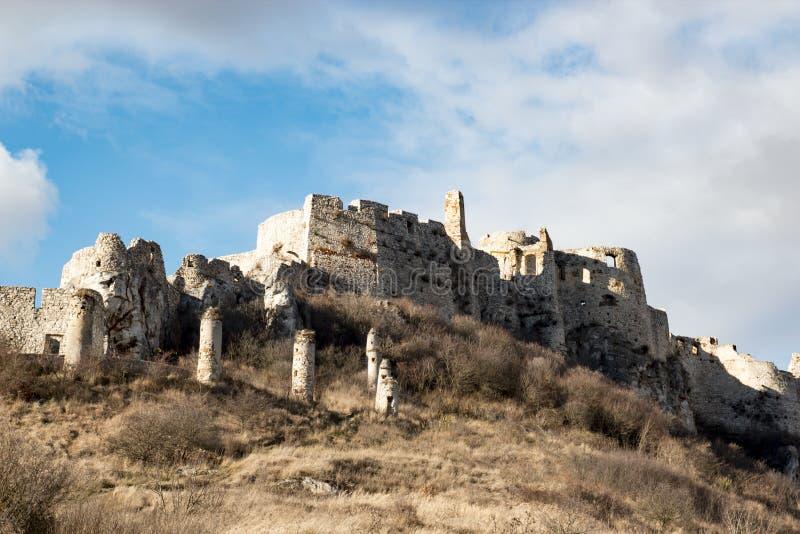 Castelo de Spis no fundo do céu azul, Eslováquia foto de stock