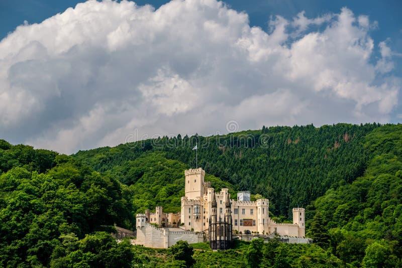 Castelo de Stolzenfels no vale do Reno perto de Koblenz, Alemanha fotos de stock royalty free
