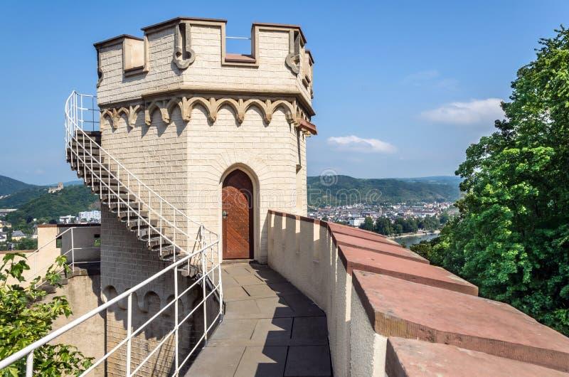 Castelo de Stolzenfels, o vale do Reno, Alemanha imagem de stock royalty free
