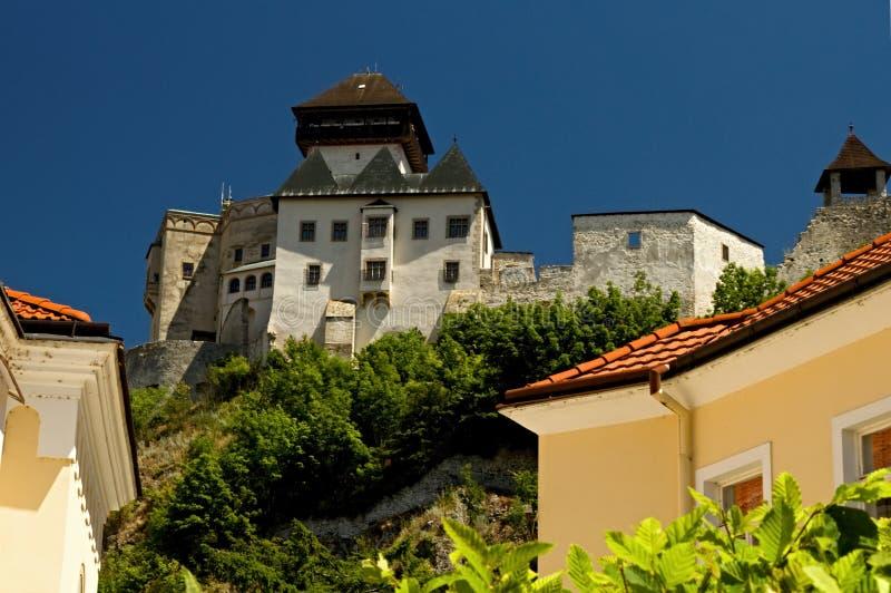 Castelo de Trencin, república Europa-eslovaca Arquitetura velha bonita imagem de stock