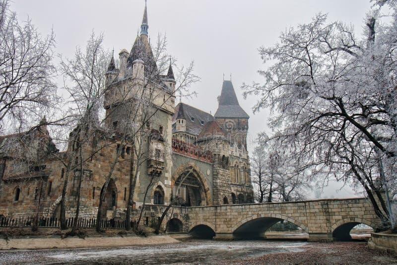 Castelo de Vajdahunyad em Budapest, Hungria fotografia de stock