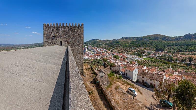 Castelo de Vide rooftops and castle watchtower seen from the Castle roof. Castelo de Vide, Portalegre, Alto Alentejo, Portugal stock photo