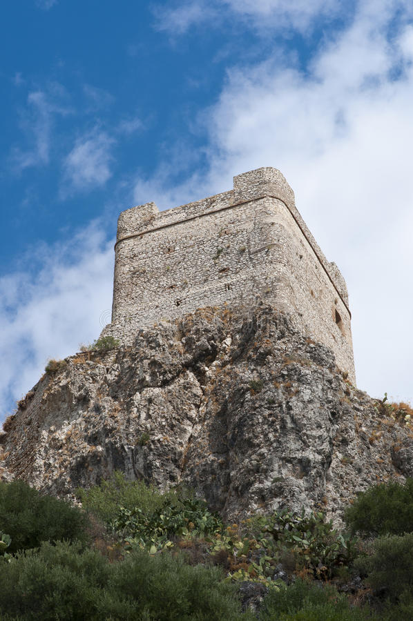 Castelo de Zahara de la Serra imagem de stock royalty free