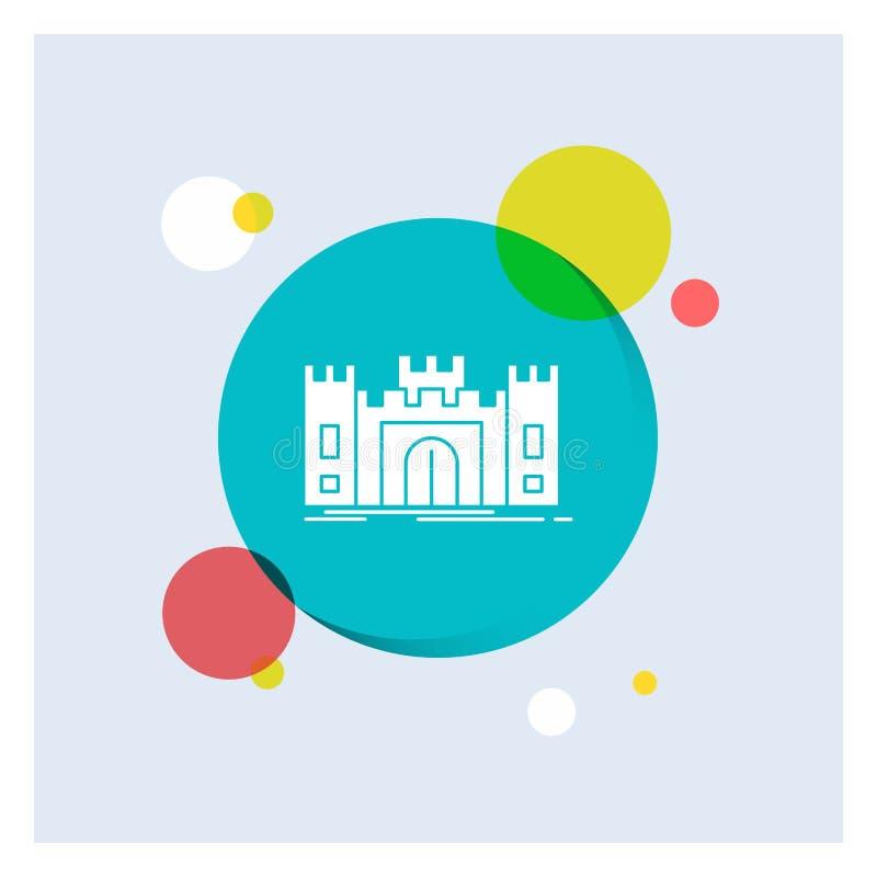 Castelo, defesa, forte, fortaleza, do ícone branco do Glyph do marco fundo colorido do círculo ilustração royalty free