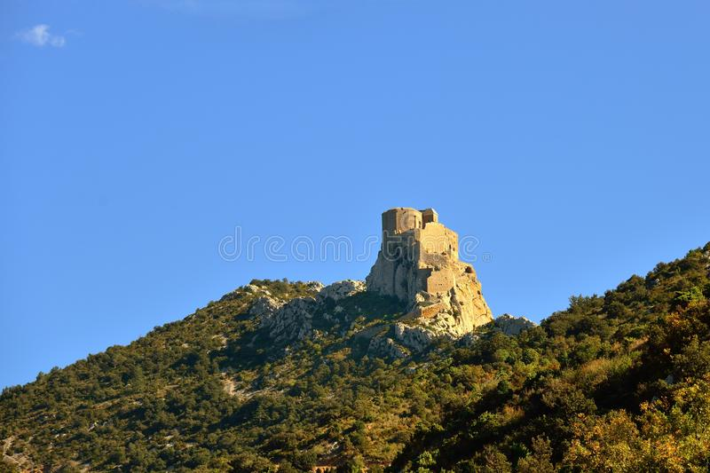 Castelo do cathar de Queribus imagem de stock royalty free