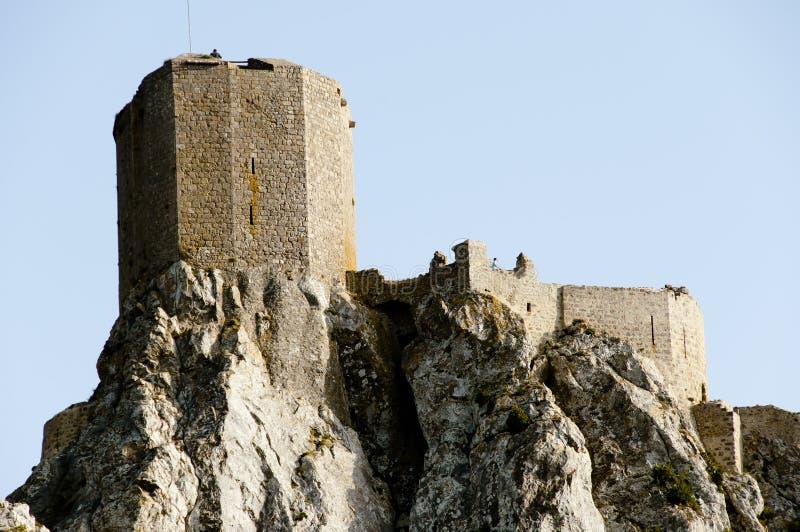 Castelo do Cathar de Queribus - França imagens de stock royalty free