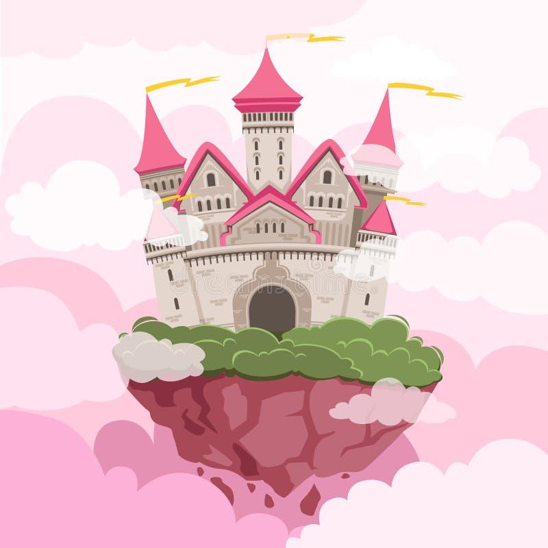 Castelo do conto de fadas com as torres grandes no céu Fundo da paisagem da fantasia ilustração royalty free