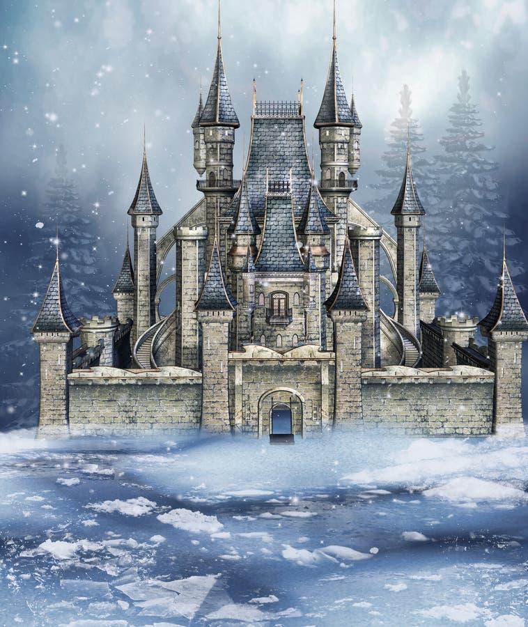 Castelo do conto de fadas do inverno ilustração royalty free