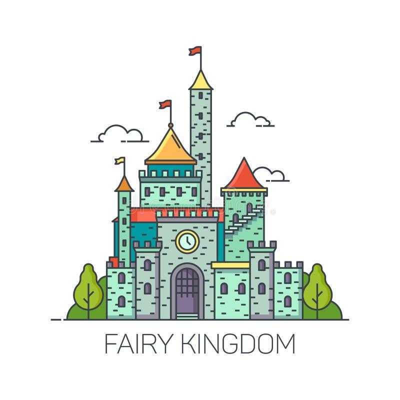 Castelo do conto de fadas dos desenhos animados ou forte liso do reino ilustração royalty free