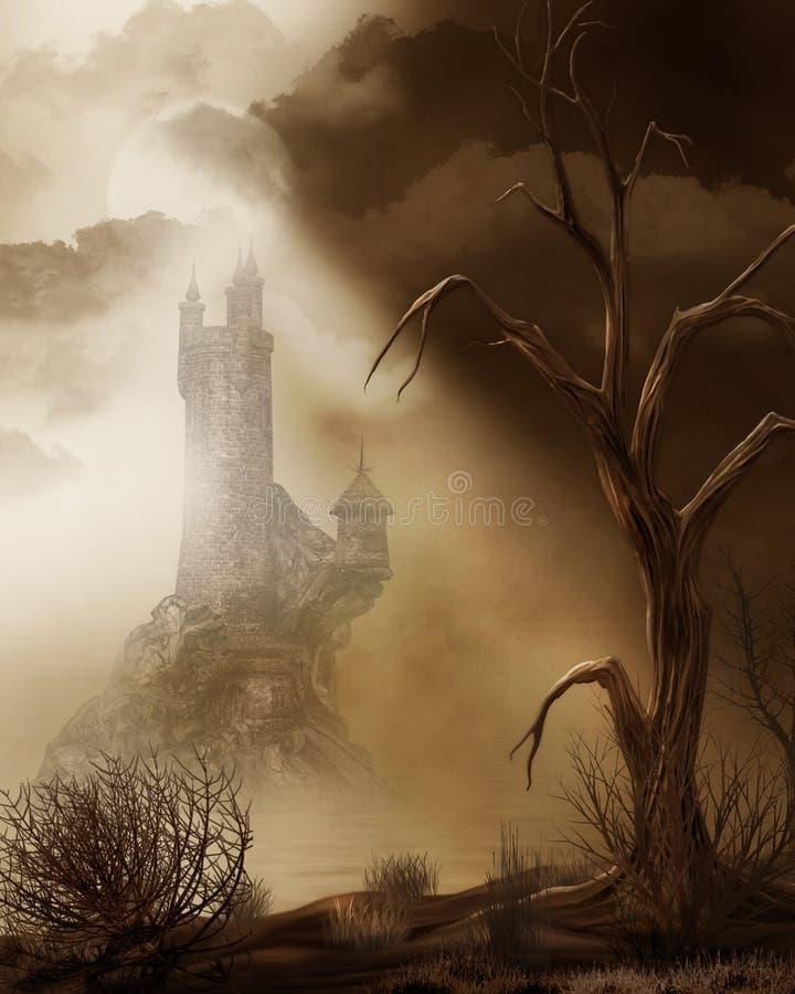 Castelo do conto de fadas em uma área deserta ilustração do vetor