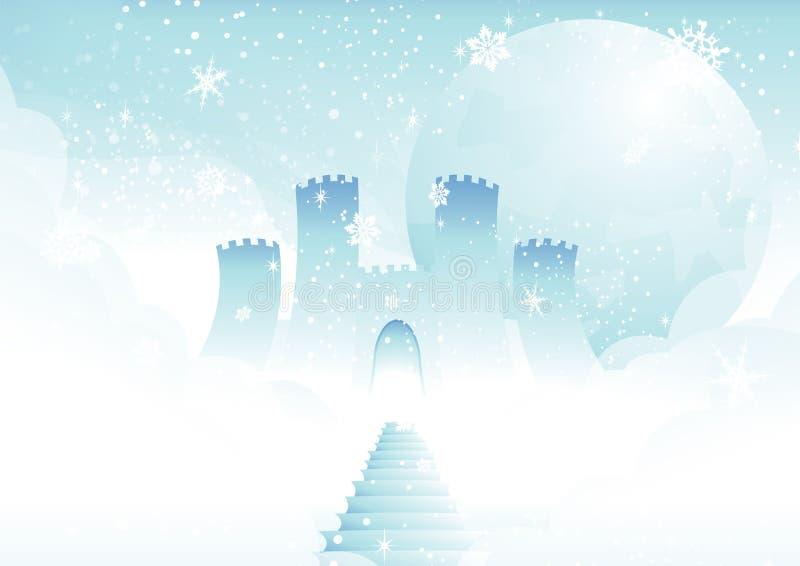 Castelo do conto de fadas nas nuvens ilustração do vetor