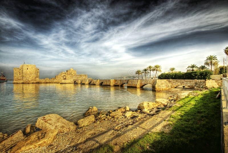 Castelo do mar do cruzado, Sidon (Líbano) imagens de stock