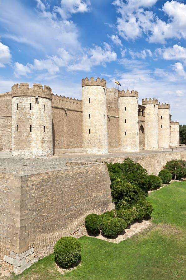 Castelo do palácio de Aljaferia em Zaragoza Spain Aragon fotos de stock